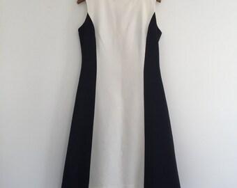 Vintage 60's Black and White Monochrome Dress S M
