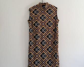 Vintage 60's Mod Geometric Print Mini Shift Dress L