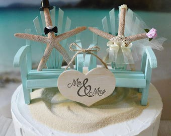 Beach chairs aqua blue coral beach destination wedding Adirondack chairs starfish bride and groom decorated ivory bride veil Mr &Mrs sign