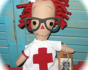Raggedy Annie Ann Nurse RagDoll With Glasses OOAK Mother's Day Doll