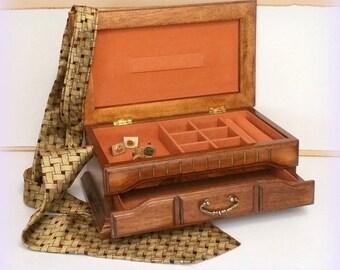 70s Men's Jewelry Box / Dresser Valet - Mediterranean Styling - Vintage -  Men's Gifts