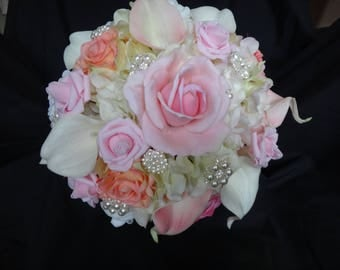 Real touch rose, calla lily,  hydrangea bouquet, light pink, peach, cream and white real touch flower bouquet, artificial bouquet