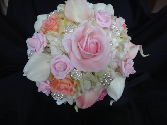 real touch rose calla lily hydrangea bouquet light pink, Beautiful flower