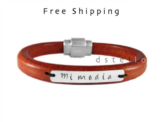 Mens engraved leather bracelet - Quality spanish leather, 925 Sterling silver id tag and silver plated strong magnetic clasp