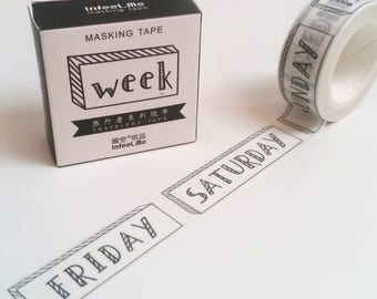 Doodle Week Day Washi Tape