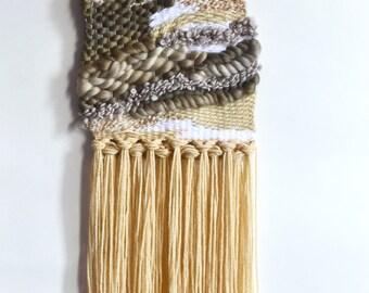Beige Wall Weaving, Wall Weave, Neutral Color Weaving, Yarn Art, Canadian Weaving, Tapestry, Valentines Day Gift, Loom Weaving, Wall Art