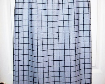 Vintage 1970s Ladies White & Navy Plaid Double Knit Skirt Large Only 6 USD