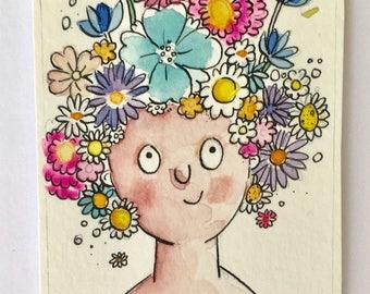 Flower Girl Original, ACEO, Watercolour Art