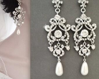 Pearl earrings, Crystal pearl earrings, Pearl wedding earrings, Brides earrings, Swarovski pearl earrings,Pearl chandelier earrings,ANGELINA
