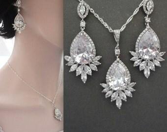 Brides jewelry set, Cubic zirconia jewelry set, Wedding jewelry set, High quality, AAA Cubic zirconia's, Marquise cut jewelry, LILLY