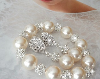 Chunky pearl bracelet and earring set, Swarovski pearls and bracelet, Brides pearl set, Pearl jewelry set, Wedding set, Best seller ~LOLITA