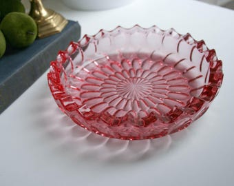 Pink Glass Bowl, Thumbprint Type Design, Scallop Edge, Candy Dish, Easter Decor, Shabby Decor