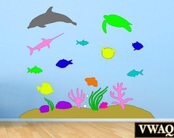 Vinyl Wall Art Sticker Decals - Under The Sea, Ocean Animals, Underwater, Coral Reef VWAQ-POF1