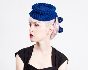 Vintage 1940s Royal Blue Popcorn / Bauble Knit Hat with Sequins / Pom Poms