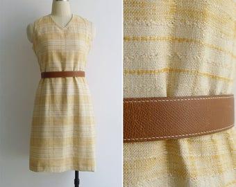 15% SALE (Code In Shop) - Vintage 60's Sunshine Yellow Plaid Linen Pencil Dress M