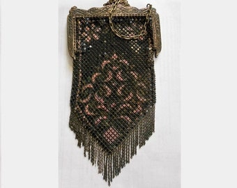 100 Year Old FLAT Mesh Pink & Black Enameled Evening BagExcellent Art Deco Flapper Purse, Chain Mail Purse,Flat Liquid Movement  Only 199.00