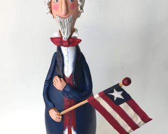 Uncle Sam Sculpture Independence Day Gourd Decoration Primitive Decor Patriotic Decor Americana Decor Folk Art Uncle Sam Decor