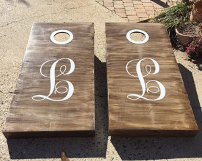 Corn Hole Decals | Wedding Monogram | Vinyl Decals for Cornhole Game Boards | Country Wedding Decor