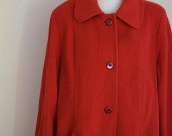 salvation armani vintage wool coat - red winter coat - herman kay - women red wool winter jacket