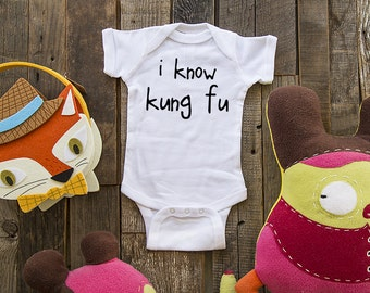 i know kung fu - funny saying printed on Infant Baby One-piece, Infant Tee, Toddler T-Shirts