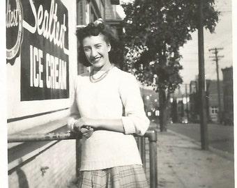 "Vintage Snapshot ""Ice Cream Break"" Sealtest Ice Cream Stand Grocery Store City Town Street Pretty Girl Found Vernacular Photo"