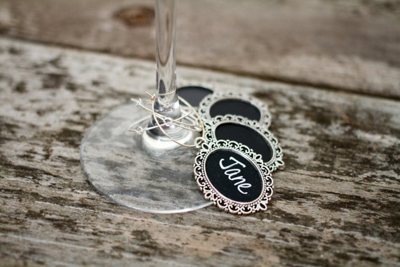 25 Chalkboard Wine Charms for Wedding Favors, Bridal Shower Gift, Wedding Wine Charms, Housewarming Gift, Hostess Gift, Reusable