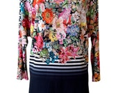 Floral Plus Size Shirt, Long Sleeve Oversize Tunic Shirt, Bat Sleeves, Floral Print ,Designer Shirt, Navy Blue, Women Shirt
