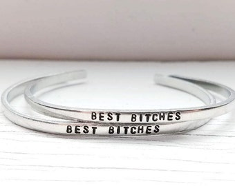 Best Bitches Bracelets, Best Friend Bracelets, Hand Stamped Skinny Stacking Cuff