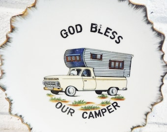 RV blessing camper wall art plate plaque camping humor religion mid century kitsch vintage