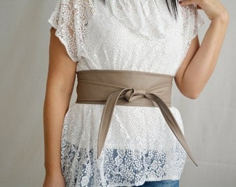Taupe leather obi belt, Obi belt, faux leather belt, sash belt, brown obi belt, womens clothing, boho belt, taupe belt