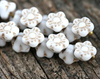 25pc Button style Flower beads, White and Gold Print, Czech glass floral beads - 7mm - 2179