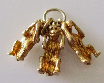 9ct Gold Three Wise Monkeys Charm or Pendant