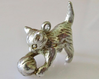 Solid Silver Kitten and Ball Charm or Pendant