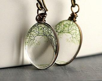 Bending willow transparent earrings. 3D glass dangling earrings. Nature inspired tree earrings. Gift for her.