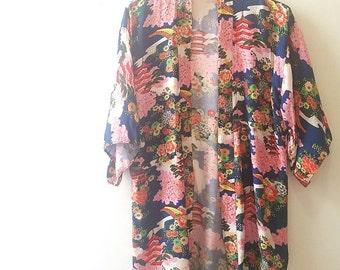 Vintage Japanese Garden Rayon Short Kimono Robe
