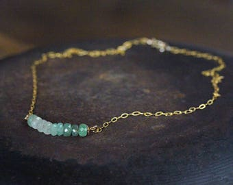 Emerald Bar Necklace - May Birthstone Necklace  - Green Emerald Line Necklace - Emerald Jewelry - Gift For Her