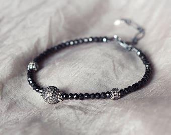 Diamond Pave Bracelet - Black Spinel Bracelet - Diamond Jewelry - Luxe Bracelet - Diamond Bracelet