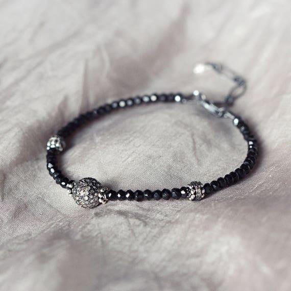 Diamond Pave Bracelet - Black Spinel Bracelet
