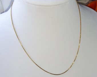 Vintage Necklace Sterling Silver Box Chain Gold Vermeil Italy Dainty 18""