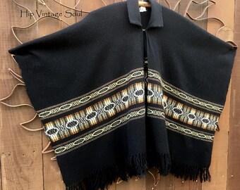 Vintage 1970's Black Poncho, Ethnic, Bohemian, Hippie, Gypsy