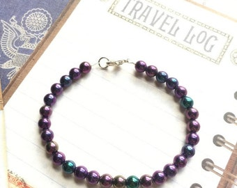 ON SALE Purple Iris Beaded Bracelet, Czech Glass Bead, 6 mm Bead, Girlfriend Gift, Magnetic Clasp, Lobster Clasp, Stocking Stuffer