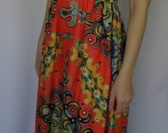 SILKY MAXI DRESS orange green bright empire waist boho 2 4 (A2)