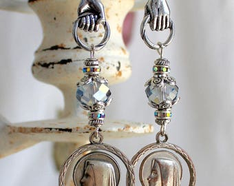 Assemblage Earrings, Religious medals St. Bernadette, Barely Blue Swarovski, Catholic Devotional  Mary mother Sterling spiritual jewelry