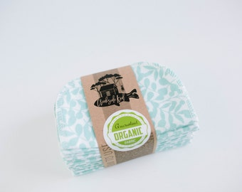 Organic Cloth Wipes - Flannel Cloth Wipes - Organic Wipes - Double Layer -  Tiffany Color  - Choose your Quantity & Size