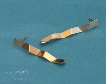 Long Geometric Earrings , Gold Zig zag Studs , Folded Studs , Modern Earrings , Long Bar Earrings , Gold Geometric Studs , Mothers Day Gift