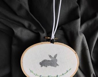 Floral Bunny Embroidery Silver Silk Nursery Art