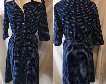 Comfy Darling retro blue polka dot knit day dress 1960 medium large