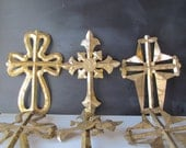 Set of 6 Large Gold Leaf Ornate Aluminum Crosses!  Perfect for Christmas or Year Round!