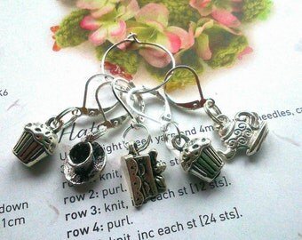 5 Crochet stitch markers Silver Afternoon tea