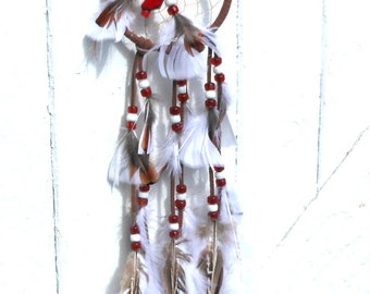Handmade Dream Catcher, Red White Brown, Bamboo Coral, Brown White Feather, Red White Glass Beads, Brown Leather, Sinew Webbed Center